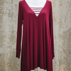 Lucy Love Great Day Burgundy Swing Dress